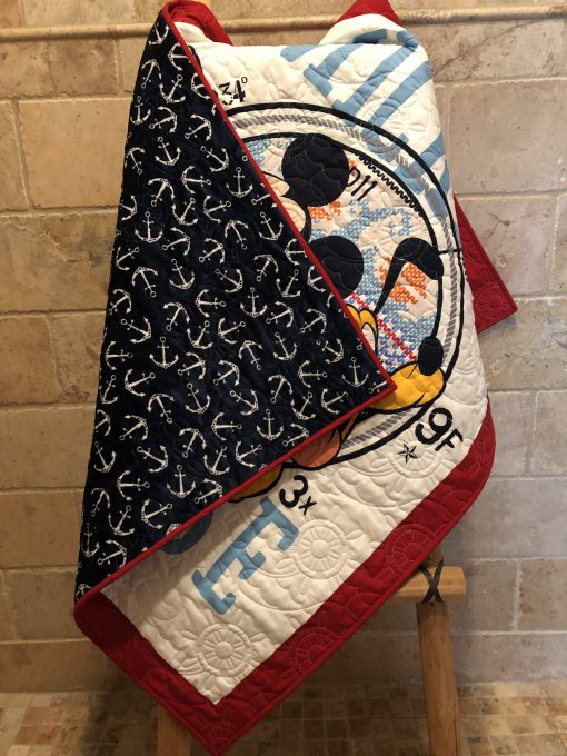 Anchors Cuddle Navy Fabric