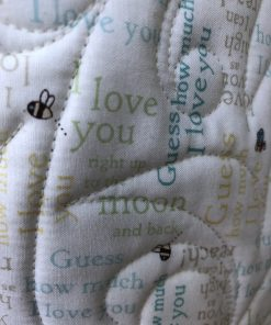 Neighborhood Pals Quilt, backed with Guess How Much I Love You Fabric