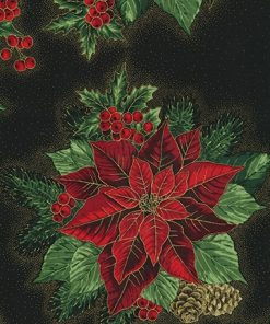Holiday Flourish 13, BLACK, Poinsettias on Black Background; Robert Kaufman