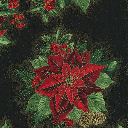 Holiday Flourish 13, BLACK, Poinsettias on Black Background; Robert Kaufman