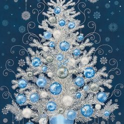 HOLIDAY FLOURISH 13, NAVY Christmas Tree Panel; Robert Kaufman