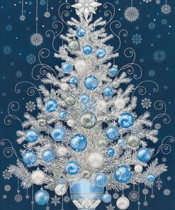 HOLIDAY FLOURISH 13, NAVY Christmas Tree Panel; Robert Kaufman