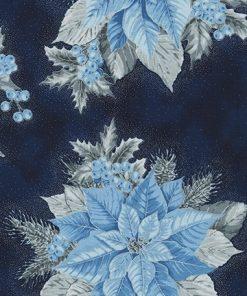HOLIDAY FLOURISH 13, NAVY, Poinsettias, Robert Kaufman