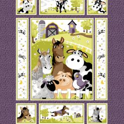 Animals fun on the farm in this quilt panel