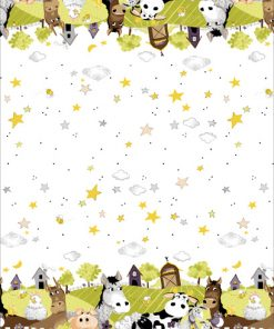 Barnyard Buddies Border, Lime by Susybee; Clothworks