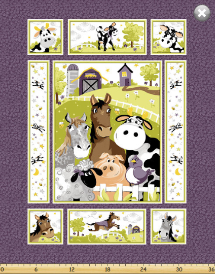 "Barnyard Buddies, 36"" Quilt Panel by Susybee; Clothworks"