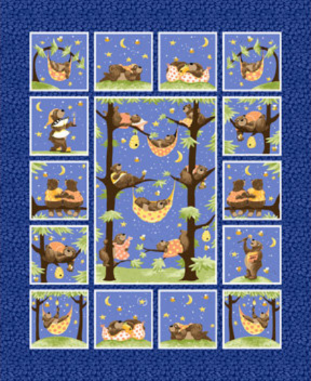 "Baron the Bear 36"" Quilt Panel by Susybee; Clothworks"