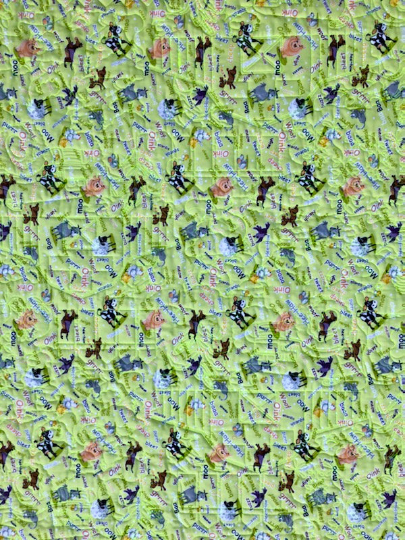 Lime Green and critters all over. Barnyard Buddies (Noises Backing) Sold by Lightning Bugs Quilt Studio