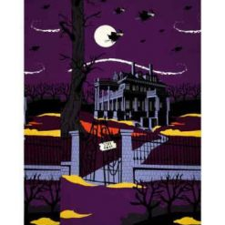 Riley Blake Haunted House, Panel, Purple