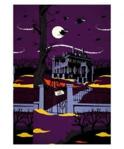 Riley Blake Haunted House, Panel, Purple