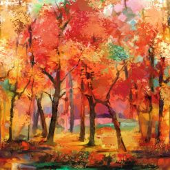 September Morning, Red Multi, Full Width border, Northcott Fabrics by Deborah Edwards