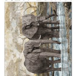 NEW DAWN ELEPHANTS, PANEL, NORTHCOTT FABRICS