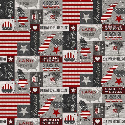 My America Patchwork | Gray Multi | Northcott Fabrics