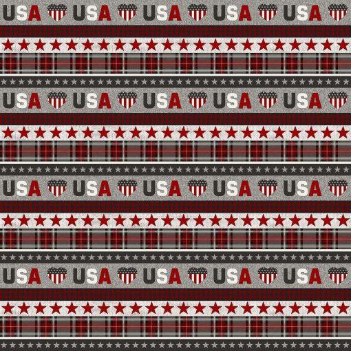 My America Stripe (Lengthwise) | Northcott Fabrics | Gray Multi