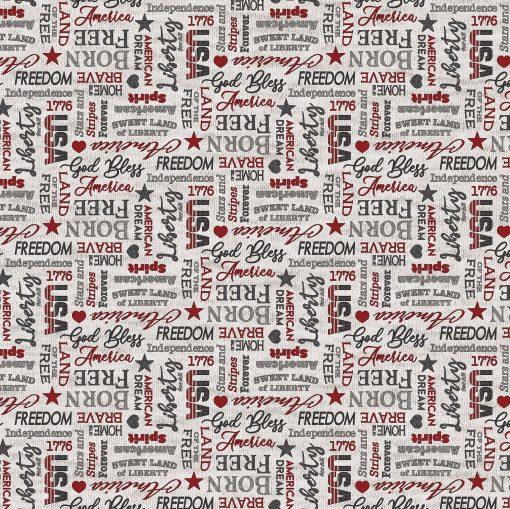 My America Inspirational Words   Light Gray Multi  Northcott Fabrics