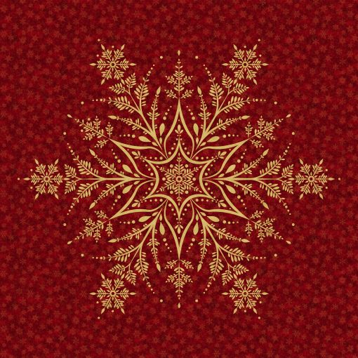 Shimmer Frost Dark Red & Gold Snowflake Panel