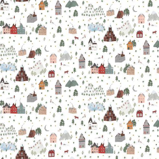 Winter Frost, Landscape, White/Multi, Figo Fabrics
