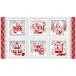 Henry Glass, Christmas Panel, Holiday Lane, RED GRAY, Henry Glass
