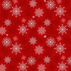 Holiday Lane, Snowflakes on Texture, Red, White