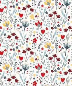 Little Red, Floral, Red, Multi, Clothworks