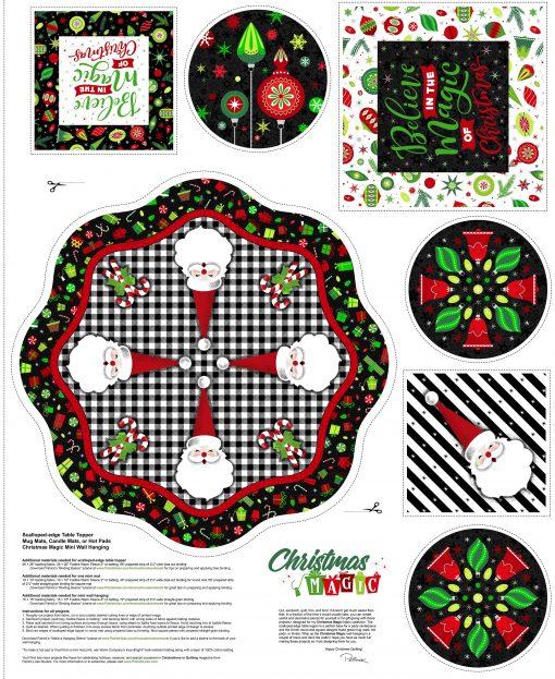 Christmas Magic, Scalloped Edge Table Topper, Mug Rugs, Hot Pads, (I'M A PANEL!)