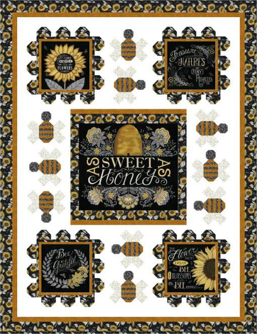 Bee Grateful Quilt Kit, Moda Fabrics
