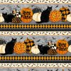 Black Cat Capers, Border Stripe, Northcott Fabrics