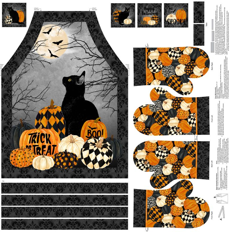 Black Cat Capers Apron/Oven Mitts, Northcott Fabrics