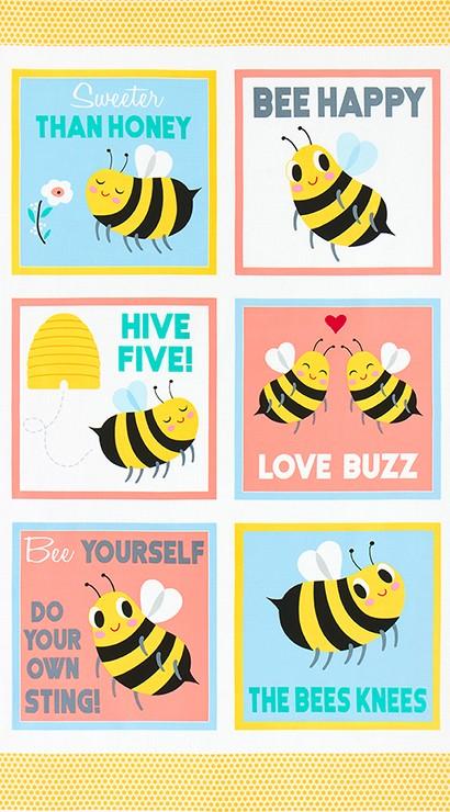 Bees Knees, BUMBLE Bee Panel, Robert Kaufman Fabric Panel