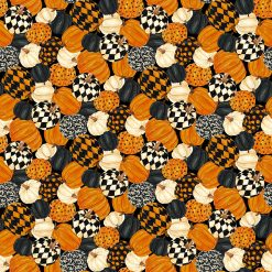 Black Cat Capers, Packed Pumpkins, Northcott Fabrics