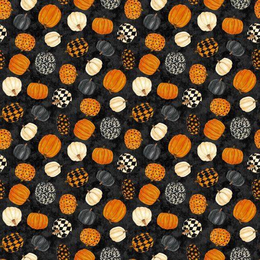 Black Cat Capers, Tossed Pumpkins, Northcott Fabrics