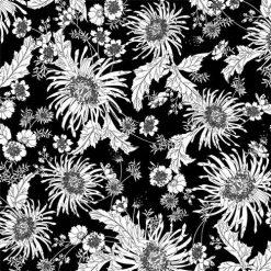 """Bloom, 108"""" Wide Fabric, White on Black, Studio E"""